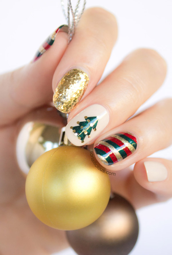 70 fabulous christmas nail art ideas brasslook gold and green nail art solutioingenieria Gallery