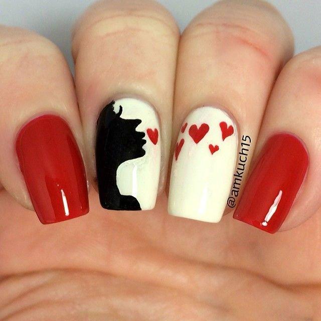 ... Valentine nail-art design ... - 60 Adoring Valentine's Day Nail Art Ideas