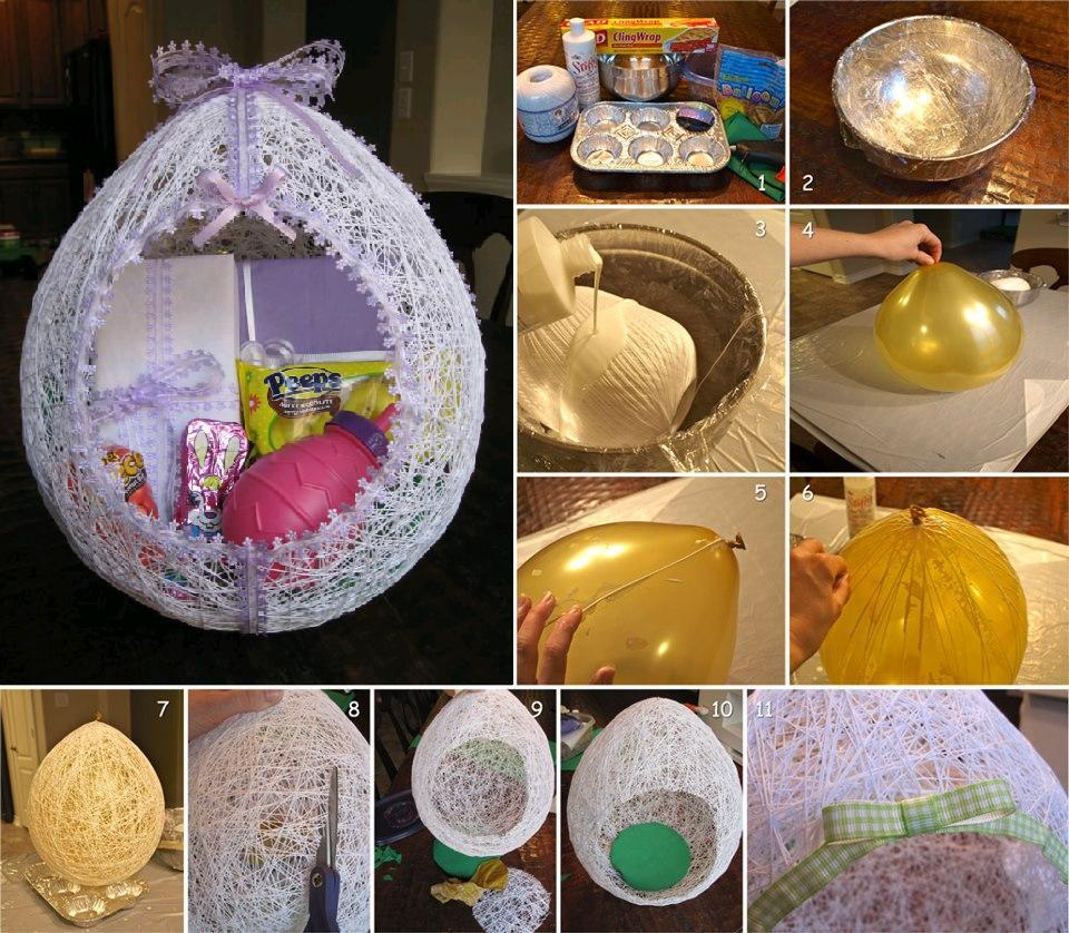 Top 75 best diy easter gifts to inspire you diy egg shaped easter string basket negle Choice Image