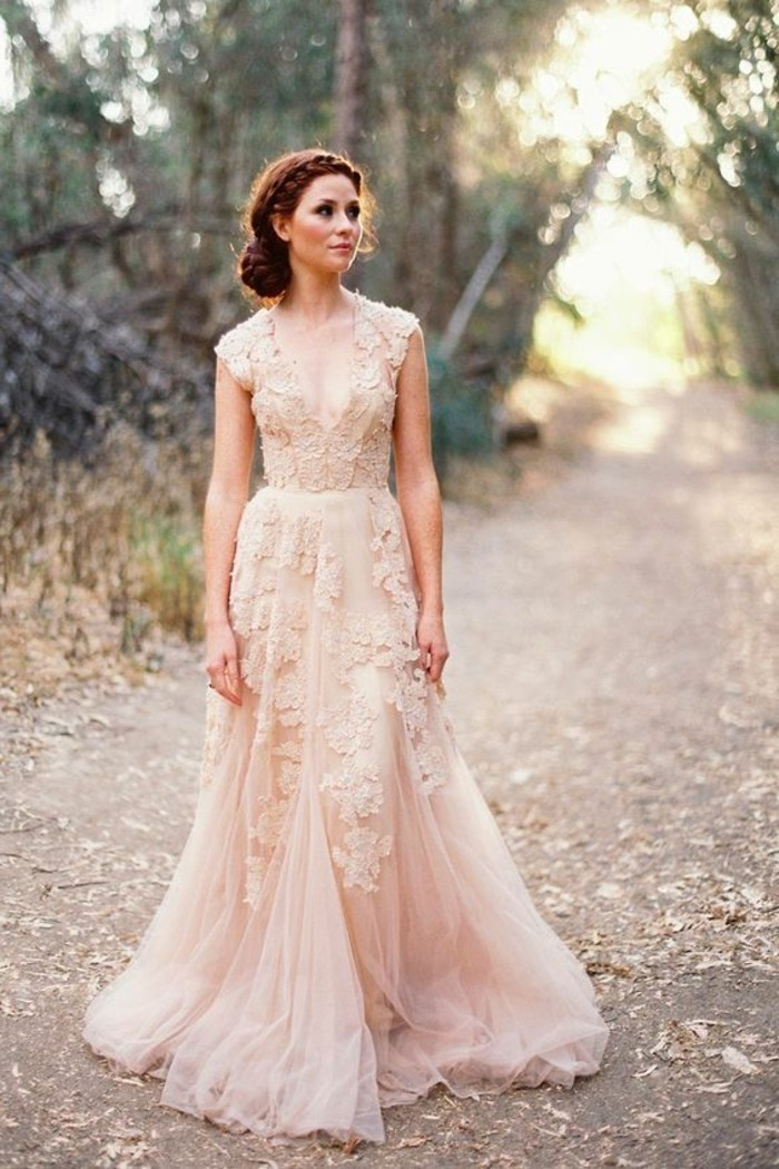 Champagne Wedding Dresses Fairy Model With Lace Bride Dress