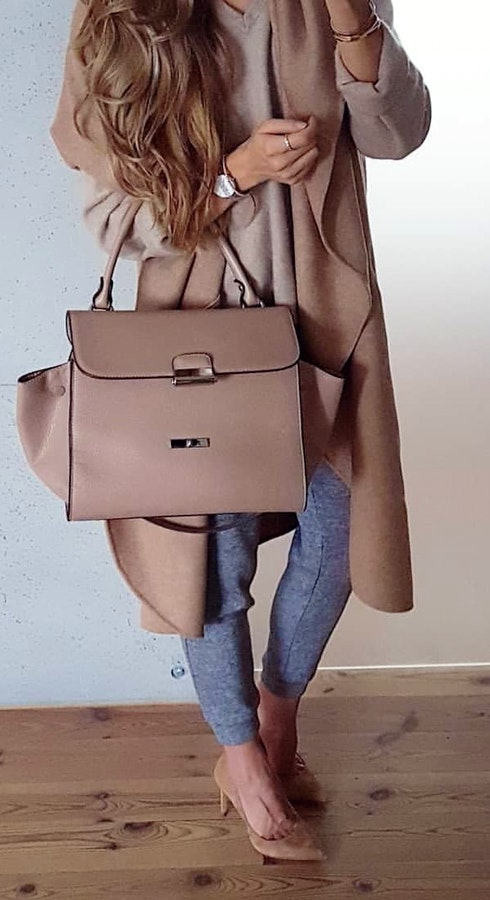 3eb8c311b9a  2 Must-Have brown leather handbag with brown over coat. Pic Source