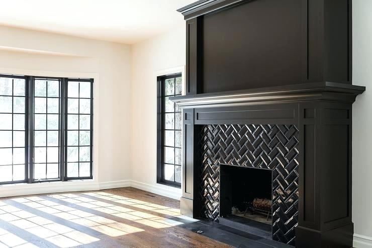 Black Tile Fireplace Wall Herringbone Mantel Tiles