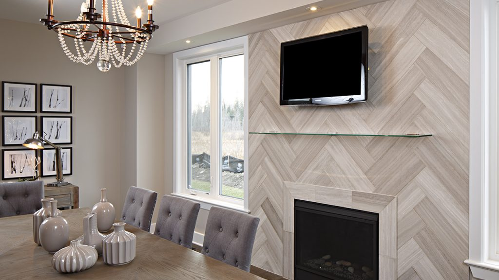 Limestone White Birch Planks Herringbone Tiles Fireplace