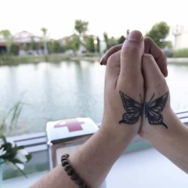 Butterfly Matching tattoos for couples.