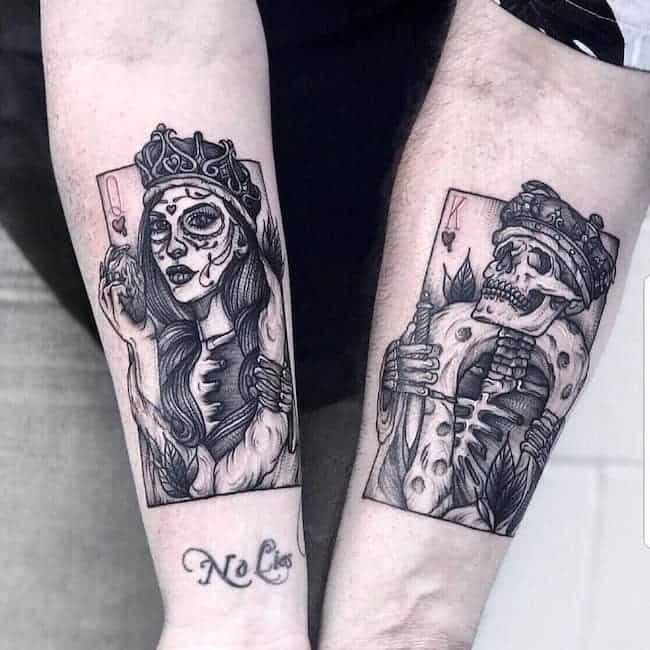 Gothic style king and queen tattoos