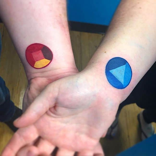Steven Universe gemstone tattoos.