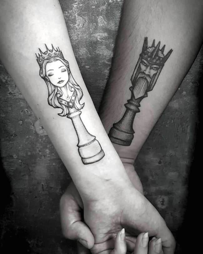 The Chess tattoos.